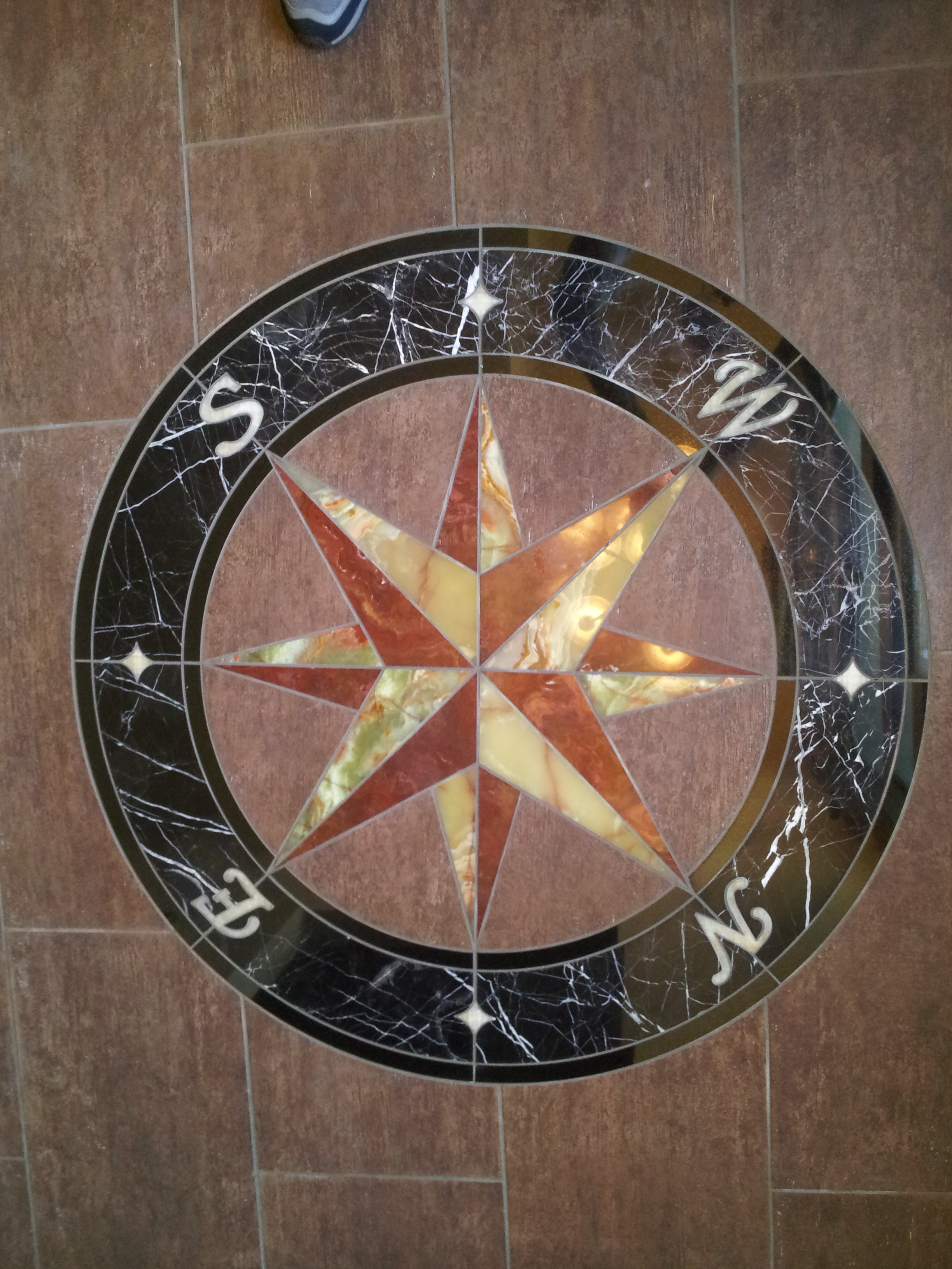 Stone floor medallions custom stone floor inlays granite signs granite and marble dailygadgetfo Image collections